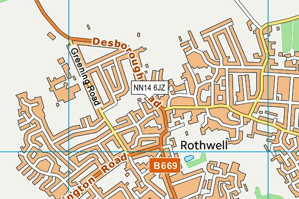 NN14 6JZ map - OS VectorMap District (Ordnance Survey)