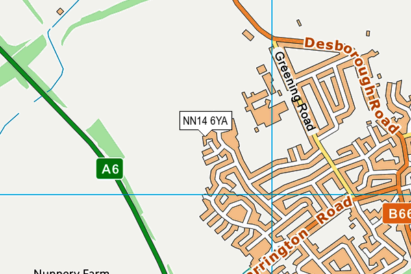 NN14 6YA map - OS VectorMap District (Ordnance Survey)