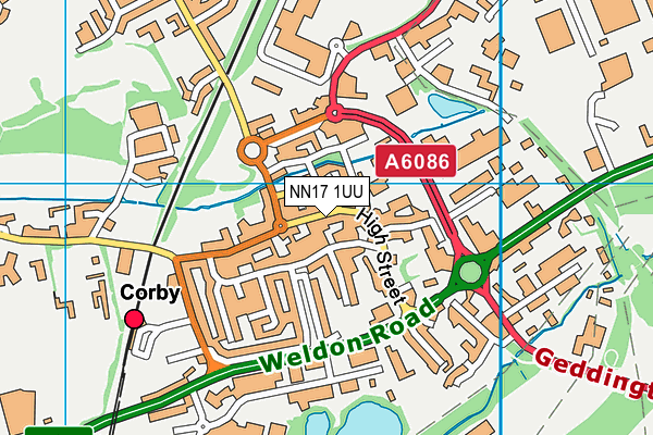 Corby Old Village Primary School map (NN17 1UU) - OS VectorMap District (Ordnance Survey)