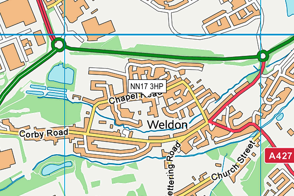 Weldon Church of England Primary School map (NN17 3HP) - OS VectorMap District (Ordnance Survey)