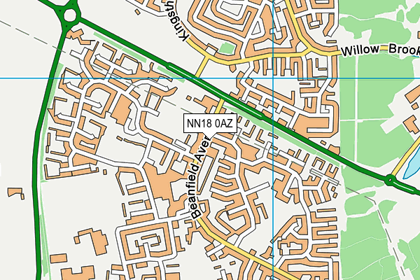 St Brendan's Catholic Primary School map (NN18 0AZ) - OS VectorMap District (Ordnance Survey)