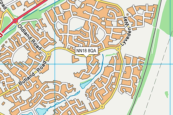 Corby Primary Academy map (NN18 8QA) - OS VectorMap District (Ordnance Survey)