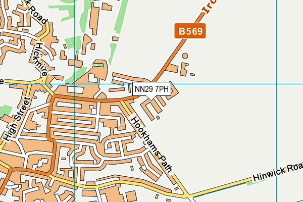Wollaston School map (NN29 7PH) - OS VectorMap District (Ordnance Survey)