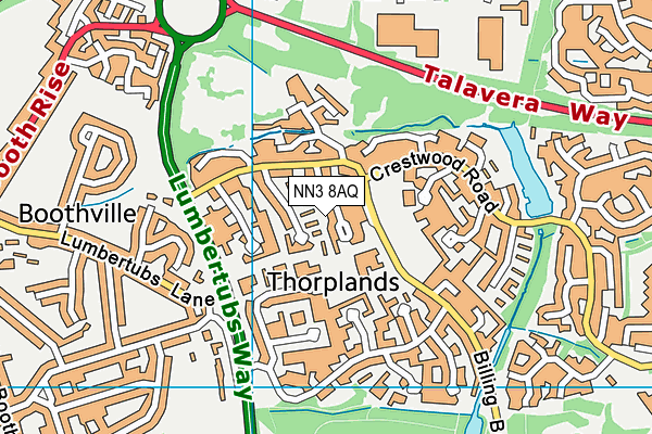 Thorplands Primary School map (NN3 8AQ) - OS VectorMap District (Ordnance Survey)