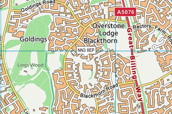 Blackthorn Primary School map (NN3 8EP) - OS VectorMap District (Ordnance Survey)