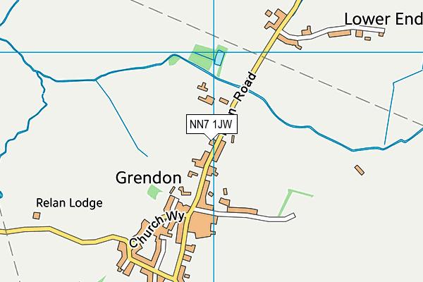 Grendon Church of England Primary School map (NN7 1JW) - OS VectorMap District (Ordnance Survey)