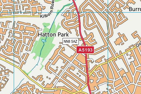 Wellingborough Town Cricket Club map (NN8 5AZ) - OS VectorMap District (Ordnance Survey)