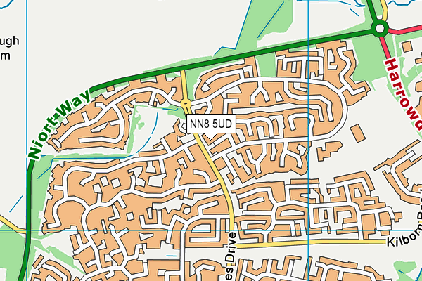 NN8 5UD map - OS VectorMap District (Ordnance Survey)