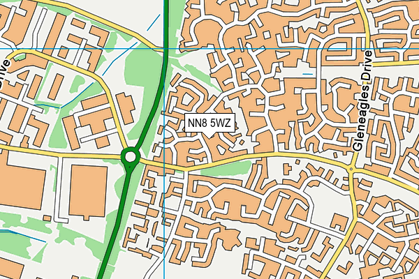 NN8 5WZ map - OS VectorMap District (Ordnance Survey)
