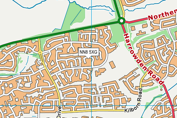 NN8 5XG map - OS VectorMap District (Ordnance Survey)