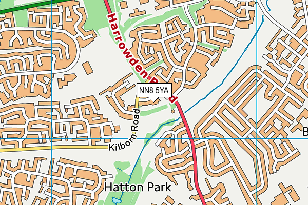 NN8 5YA map - OS VectorMap District (Ordnance Survey)