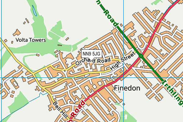 Finedon Infant School map (NN9 5JG) - OS VectorMap District (Ordnance Survey)