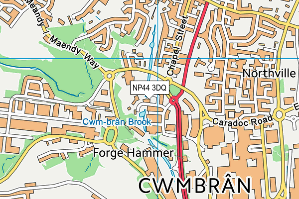 NP44 3DQ map - OS VectorMap District (Ordnance Survey)