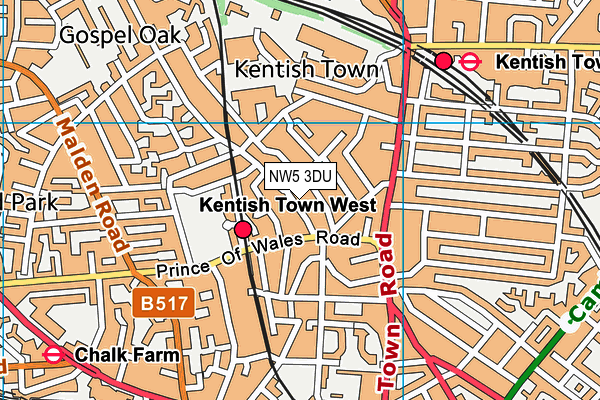 Kentish Town Sports Centre map (NW5 3DU) - OS VectorMap District (Ordnance Survey)