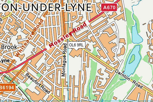 Ashton Sixth Form College map (OL6 9RL) - OS VectorMap District (Ordnance Survey)
