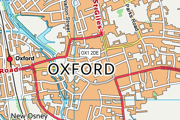 OX1 2DE map - OS VectorMap District (Ordnance Survey)
