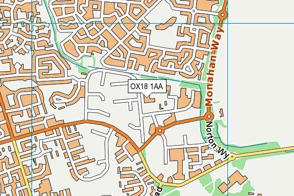 Carterton Leisure Centre map (OX18 1AA) - OS VectorMap District (Ordnance Survey)