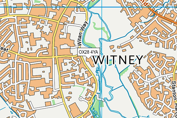 Windrush Leisure Centre, Witney map (OX28 4YA) - OS VectorMap District (Ordnance Survey)