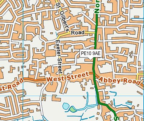 PE10 9AE map - OS VectorMap District (Ordnance Survey)
