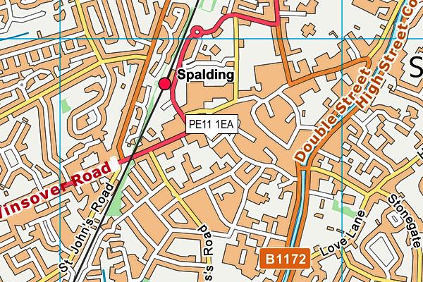 Spalding Library map (PE11 1EA) - OS VectorMap District (Ordnance Survey)