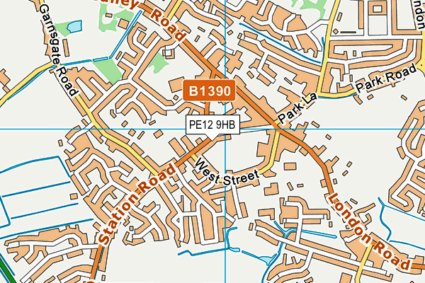 Long Sutton Library map (PE12 9HB) - OS VectorMap District (Ordnance Survey)