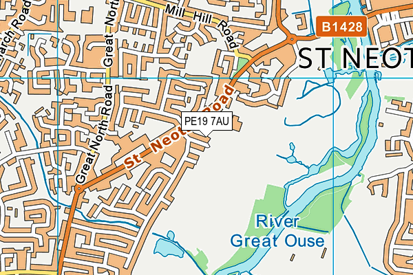 Eaton Sports Ground map (PE19 7AU) - OS VectorMap District (Ordnance Survey)