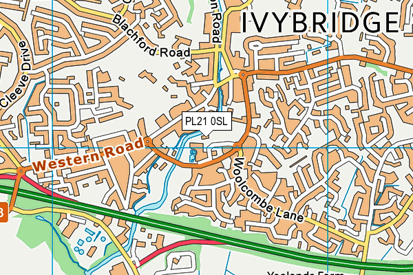 Ivybridge Leisure Centre map (PL21 0SL) - OS VectorMap District (Ordnance Survey)
