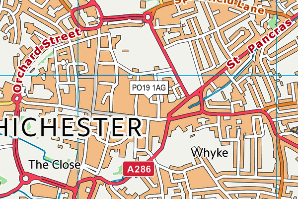 PO19 1AG map - OS VectorMap District (Ordnance Survey)