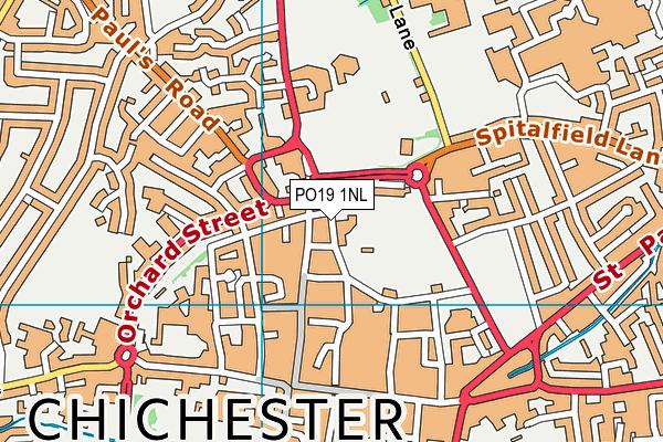 Priory Park Rec Ground map (PO19 1NL) - OS VectorMap District (Ordnance Survey)