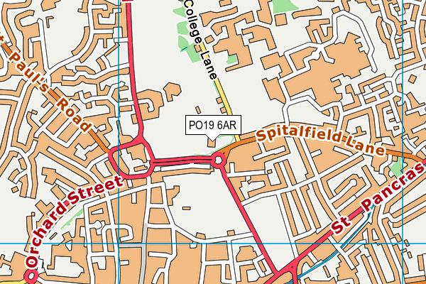 Chichester Racquets And Fitness Club map (PO19 6AR) - OS VectorMap District (Ordnance Survey)