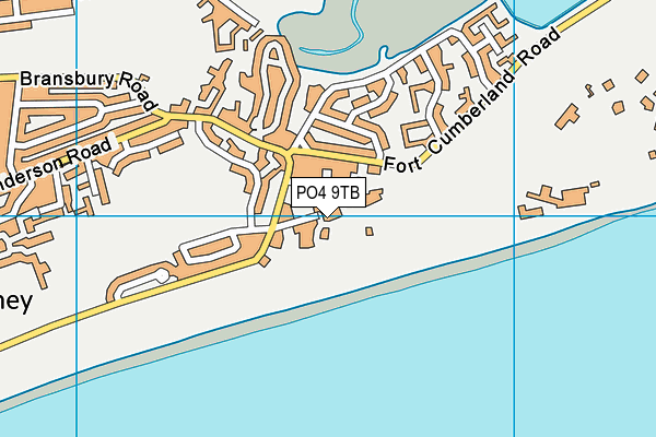 Eastney Swimming Pool map (PO4 9TB) - OS VectorMap District (Ordnance Survey)