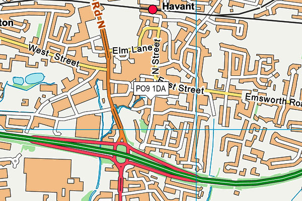 PO9 1DA map - OS VectorMap District (Ordnance Survey)