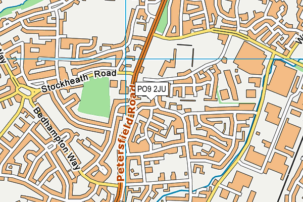 PO9 2JU map - OS VectorMap District (Ordnance Survey)
