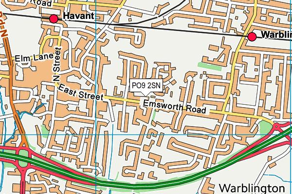 PO9 2SN map - OS VectorMap District (Ordnance Survey)