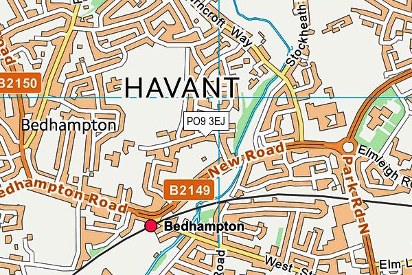 PO9 3EJ map - OS VectorMap District (Ordnance Survey)