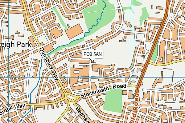 Front Lawn map (PO9 5AN) - OS VectorMap District (Ordnance Survey)
