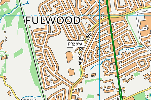 Fulwood Leisure Centre map (PR2 9YA) - OS VectorMap District (Ordnance Survey)