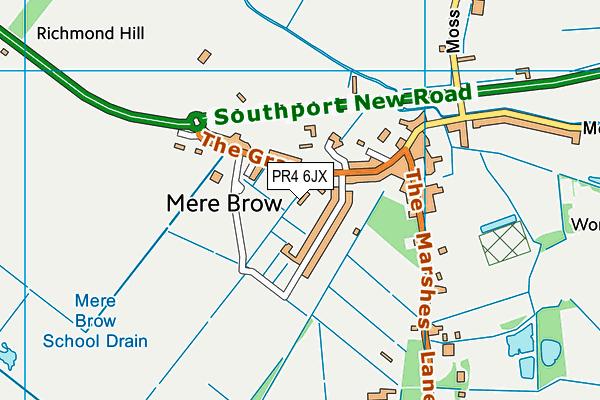 Tarleton Mere Brow Church of England Primary School map (PR4 6JX) - OS VectorMap District (Ordnance Survey)