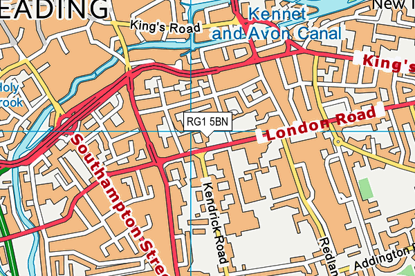 Kendrick School map (RG1 5BN) - OS VectorMap District (Ordnance Survey)