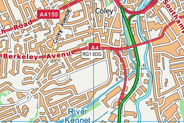 Coley Recreation Ground map (RG1 6DG) - OS VectorMap District (Ordnance Survey)