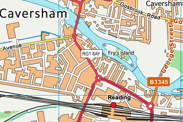 RG1 8AY map - OS VectorMap District (Ordnance Survey)