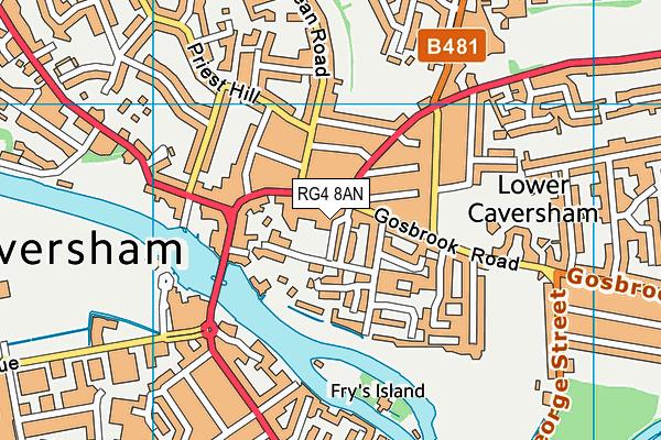 Caversham Health & Fitness Club (Closed) map (RG4 8AN) - OS VectorMap District (Ordnance Survey)
