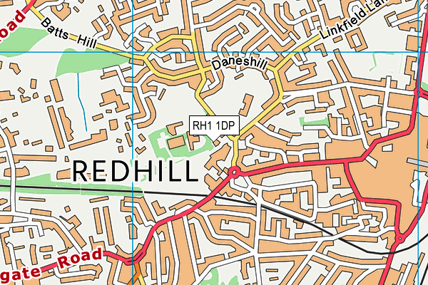 Donyngs Leisure Centre, Redhill map (RH1 1DP) - OS VectorMap District (Ordnance Survey)