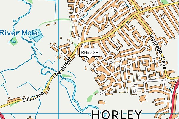 Horley Leisure Centre map (RH6 8SP) - OS VectorMap District (Ordnance Survey)