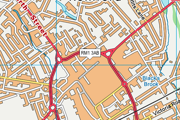 Better Gym Romford map (RM1 3AB) - OS VectorMap District (Ordnance Survey)