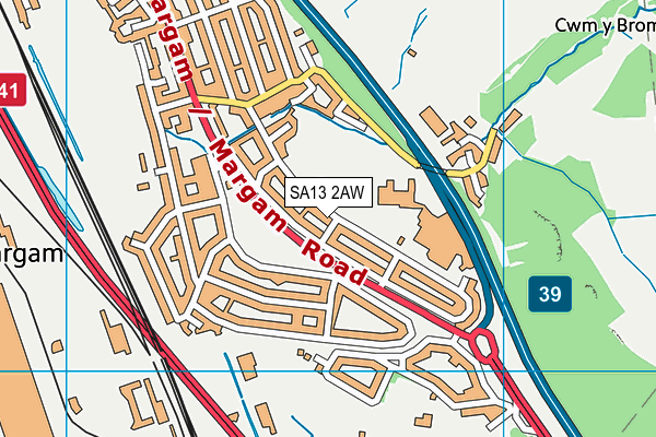Groes Primary  School map (SA13 2AW) - OS VectorMap District (Ordnance Survey)