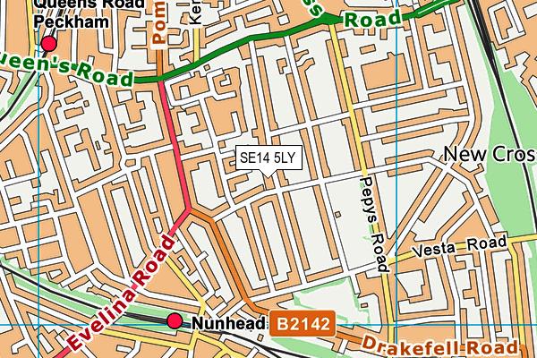 Edmund Waller Primary School map (SE14 5LY) - OS VectorMap District (Ordnance Survey)