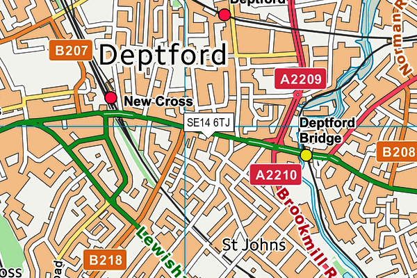 Addey and Stanhope School map (SE14 6TJ) - OS VectorMap District (Ordnance Survey)