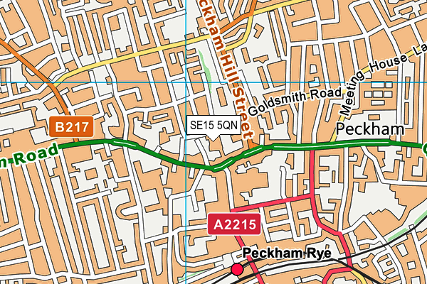Peckham Pulse Healthy Living Centre map (SE15 5QN) - OS VectorMap District (Ordnance Survey)