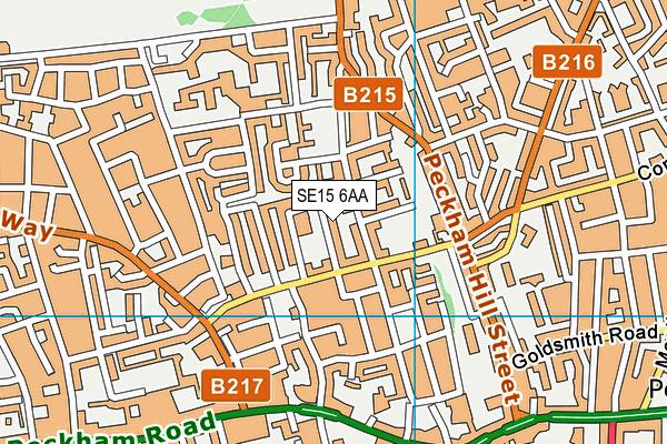 SE15 6AA map - OS VectorMap District (Ordnance Survey)